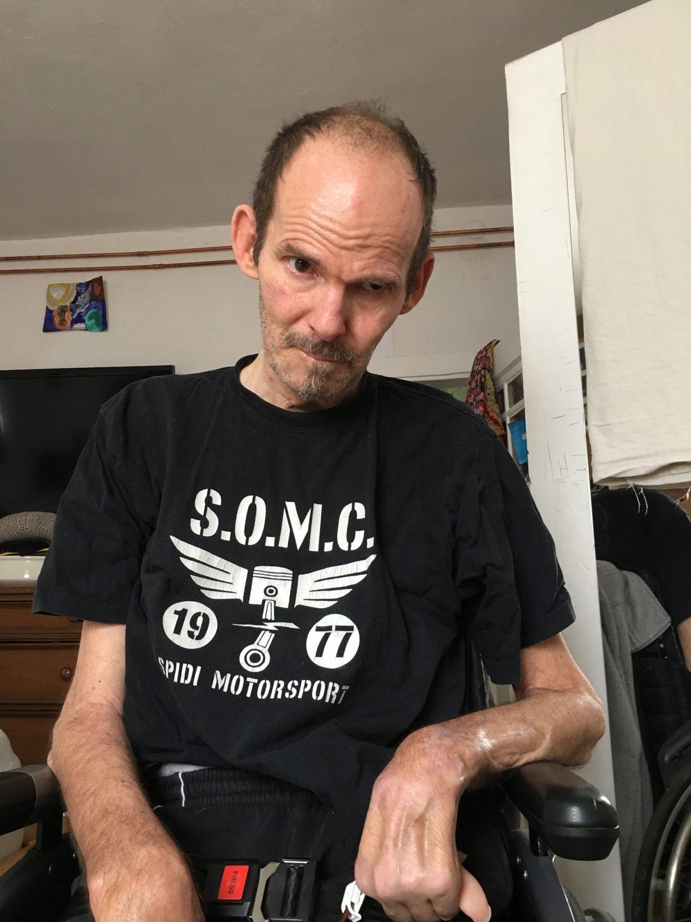 ELFS Mai 2018   Stefan ist zu schwach um im Rollstuhl zu sitzen
